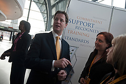 © London News Pictures. 10/03/2012.  Gateshead, UK. Liberal Democrat leader NICK CLEGG meeting party members on a walk about on day 2 of the Liberal Democrat Spring conference at the Sage Gateshaed on March 10th, 2012. Photo credit : Ben Cawthra/LNP