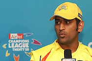 MS Dhoni of the Chennai Super Kings answers questions during the post match press conference during match 13 of the Airtel CLT20 between The Superkings and the Victorian Bushrangers held at St Georges Park in Port Elizabeth on the 18 September 2010..Photo by: Shaun Roy/SPORTZPICS/CLT20