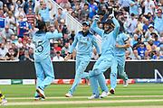 Wicket - Joe Root of England celebrates catching Pat Cummins of Australia off the bowling of Adil Rashid of England during the ICC Cricket World Cup 2019 semi final match between Australia and England at Edgbaston, Birmingham, United Kingdom on 11 July 2019.
