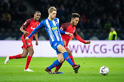 BERLIN, Dec. 9, 2018  Hertha's Arne Maier (C) vies with Frankfurt's Jonathan de Guzman (R) during a German Bundesliga between Hertha BSC and Eintracht Frankfurt, in Berlin, Germany, on Dec. 8, 2018. Frankfurt lost 0-1. (Credit Image: © Kevin Voigt/Xinhua via ZUMA Wire)