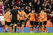 The Wolverhampton Wanderers players celebrate Wolverhampton Wanderers striker (on loan from Athletic Madrid) Diogo Jota (18) goal 1-1 during the EFL Sky Bet Championship match between Aston Villa and Wolverhampton Wanderers at Villa Park, Birmingham, England on 10 March 2018. Picture by Dennis Goodwin.