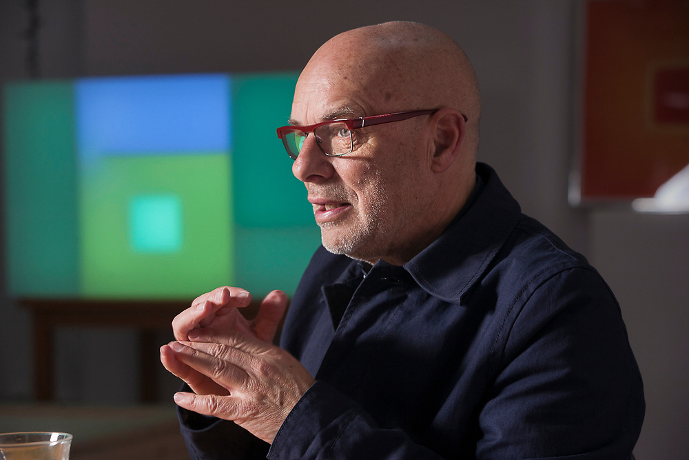 Brian Eno, musician in his studio, London.