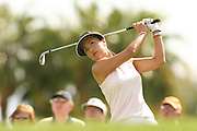 March 27, 2005; Rancho Mirage, CA, USA;  Grace Park tees off at the 5th hole during the final round of the LPGA Kraft Nabisco golf tournament held at Mission Hills Country Club.  Park finished the day with a 5 under par 67 and finished tied for 5th with an overall score of 4 under par 284.<br />Mandatory Credit: Photo by Darrell Miho <br />&copy; Copyright Darrell Miho