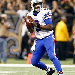 Oct 27, 2013; New Orleans, LA, USA; Buffalo Bills quarterback Thad Lewis (9) against the New Orleans Saints during the first quarter of a game at Mercedes-Benz Superdome. Mandatory Credit: Derick E. Hingle-USA TODAY Sports
