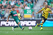 (L) Mateusz Machaj of Slask Wroclaw controls the ball during international friendly soccer match between WKS Slask Wroclaw and BVB Borussia Dortmund on Municipal Stadium in Wroclaw, Poland.<br /> <br /> Poland, Wroclaw, August 6, 2014<br /> <br /> Picture also available in RAW (NEF) or TIFF format on special request.<br /> <br /> For editorial use only. Any commercial or promotional use requires permission.<br /> <br /> Mandatory credit:<br /> Photo by © Adam Nurkiewicz / Mediasport