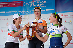 Prost to the top three: Marianne Vos, Elena Cecchini and Annemiek van Vleuten at Thüringen Rundfarht 2016 - Stage 5 a 99km road race starting and finishing in Greiz, Germany on 19th July 2016.