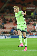 Manchester City midfielder Kevin De Bruyne with a shot  during the Capital One Cup match between Sunderland and Manchester City at the Stadium Of Light, Sunderland, England on 22 September 2015. Photo by Simon Davies.