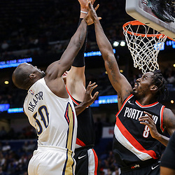 Mar 27, 2018; New Orleans, LA, USA; New Orleans Pelicans center Emeka Okafor (50) shoots over Portland Trail Blazers forward Al-Farouq Aminu (8) during the first quarter at the Smoothie King Center. Mandatory Credit: Derick E. Hingle-USA TODAY Sports