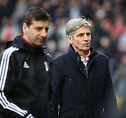 Charlton Athletic Head Coach Jose Riga not looking happy during the Sky Bet Championship match between Fulham and Charlton Athletic at Craven Cottage, London, England on 20 February 2016. Photo by Matthew Redman.