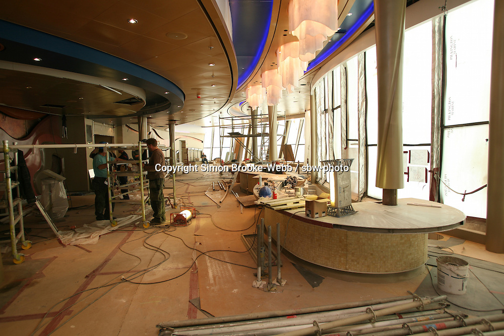 Oasis of the Seas at the shipyard in Turku, Finland where she is being built..Photos show Royal Caribbean's latest  ship 2 months before completion. .Viking Crown Lounge.