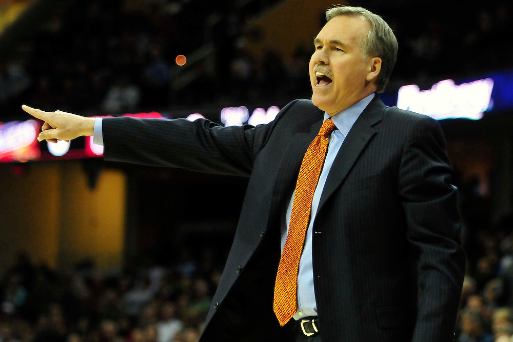 Feb. 25, 2011; Cleveland, OH, USA; New York Knicks head coach Mike D'Antoni during the first quarter against the Cleveland Cavaliers at Quicken Loans Arena. Mandatory Credit: Jason Miller-US PRESSWIRE