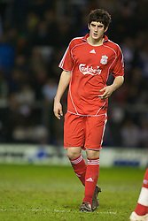 WARRINGTON, ENGLAND - Tuesday, February 26, 2008: Liverpool's Mikel San Jose Dominquez in action against Manchester United during the FA Premiership Reserves League (Northern Division) match at the Halliwell Jones Stadium. (Photo by David Rawcliffe/Propaganda)