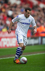SHEFFIELD, ENGLAND - Saturday, March 17, 2012: Tranmere Rovers' Danny Holmes in action against Sheffield United during the Football League One match at Bramall Lane. (Pic by David Rawcliffe/Propaganda)