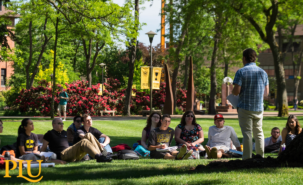 Outdoor class on a sunny afternoon at PLU on Thursday, May 12, 2016. (Photo: John Froschauer/PLU)