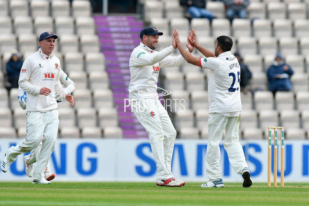 Wicket - Ravi Bopara of Essex celebrates taking the wicket of James Vince of Hampshire during the first day of the Specsavers County Champ Div 1 match between Hampshire County Cricket Club and Essex County Cricket Club at the Ageas Bowl, Southampton, United Kingdom on 5 April 2019.