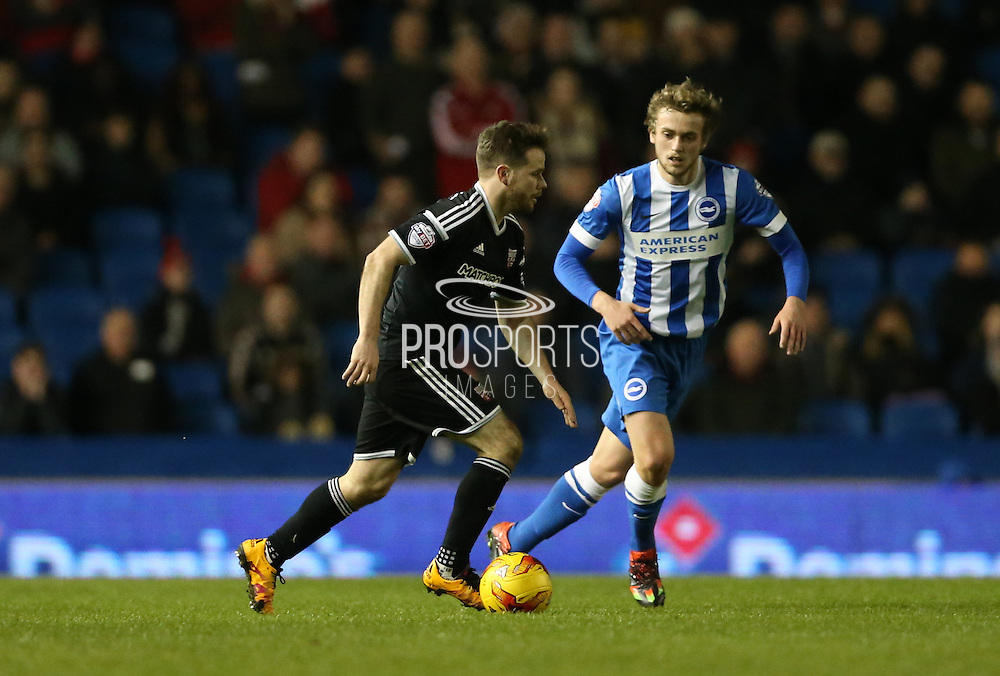 Brentford midfielder Alan Judge during the Sky Bet Championship match between Brighton and Hove Albion and Brentford at the American Express Community Stadium, Brighton and Hove, England on 5 February 2016.