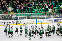 Players and fans of HK SZ Olimpija celebrating after Ice Hockey match between HK SZ Olimpija and HC Pustertal Wolfe in 6th Final game of Alps Hockey League 2018/19, on April 19th, 2019, in Hala Tivoli, Ljubljana, Slovenia. Photo by Grega Valancic