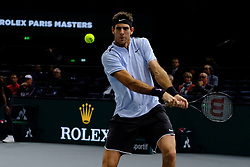 November 3, 2017 - Paris, France - The Argentine player JUAN MARTIN DEL PO returns the ball to US player JOHN ISNER during the tournament Rolex Paris Master at Paris AccorHotel Arena Stadium in Paris France.John Isner won 6-4 6-7 6-4. (Credit Image: © Pierre Stevenin via ZUMA Wire)