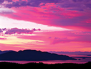 sunset over Cypress Island in the San Juan Islands