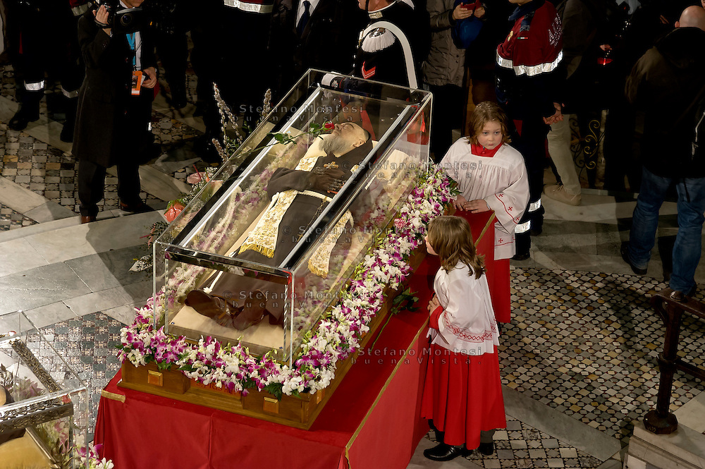 Rome, Italy. 3th Febraury 2016<br /> The relic of  St. Pio of Pietrelcina in the Basilica of San Lorenzo Fuori le mura.  The St. Pio of Pietrelcina were called to Rome by Pope Francis as symbol of the Mercy Jubilee.