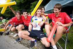 Young riders of KK Nova Gorica with national champion Marko Curk at Slovenian National Championships in Road cycling, 178 km, on June 28 2009, in Mirna Pec, Slovenia. (Photo by Vid Ponikvar / Sportida)