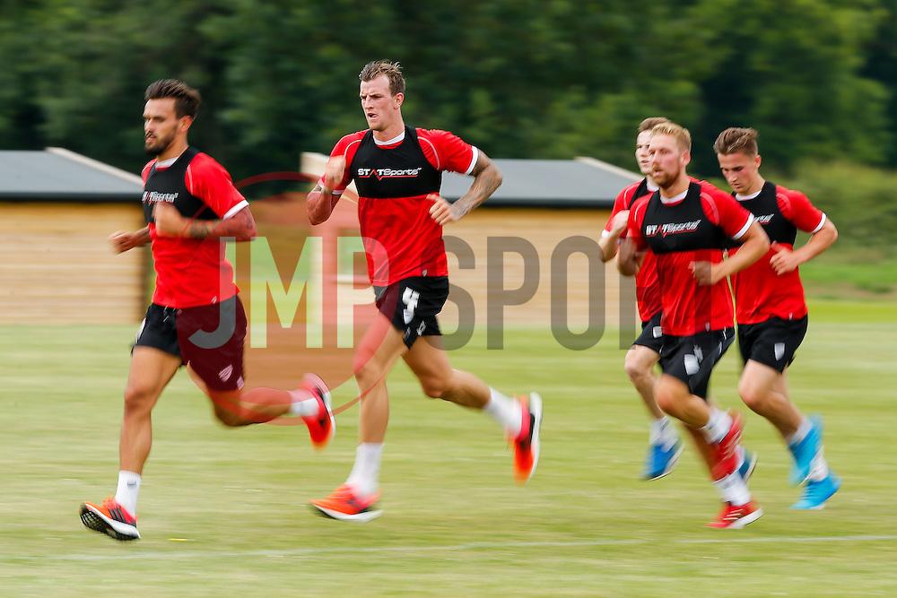 Aiden Flint runs with team mates as Bristol City return to training ahead of their 2015/16 Sky Bet Championship campaign - Photo mandatory by-line: Rogan Thomson/JMP - 07966 386802 - 01/07/2015 - SPORT - Football- Bristol, England - Failand Training Ground - Sky Bet Championship.