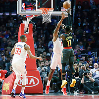 08 January 2018: Atlanta Hawks guard Dennis Schroder (17) goes for the baby hook over LA Clippers center DeAndre Jordan (6) during the LA Clippers 108-107 victory over the Atlanta Hawks, at the Staples Center, Los Angeles, California, USA.