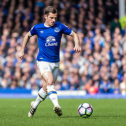 Everton defender Leighton Baines (3) on the ball in the Premier League match between Everton and Burnley<br /> (c) John Baguley | SportPix.org.uk