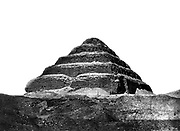 Step pyramid of Djoser (Zoser c2649-c2575 BC) at Saqqara.  Photographed in 1860s during work of Auguste Mariette-Bey (1821-1881) French archaeologist and founder of the Egyptian Museum, Cairo in 1863. Ancient Egypt Archaeology