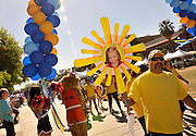 Participants in the Great Strides walk to benefit the Cystic Fibrosis Foundation circle the campus of the University of Arizona on April 14, 2013, Tucson, Arizona, USA.