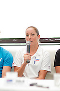 Rebekah Keat (AUS). Pre Race Press Conference. 2012 Ironman Cairns Triathlon. Salt House Restaurant, Cairns, Queensland, Australia. 31/05/2012. Photo By Lucas Wroe.