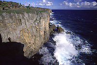 Waves Crashing into the Cliffs of Tongatapu, Tonga's Main Island..Shot in Kingdom of Tonga