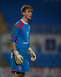BALLYMENA, NORTHERN IRELAND - Thursday, November 20, 2014: Northern Ireland's goalkeeper Matthew Davidson in action against Wales during the Under-16's Victory Shield International match at the Ballymena Showgrounds. (Pic by David Rawcliffe/Propaganda)
