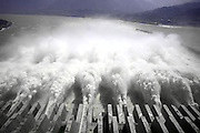 YICHANG, CHINA - SEPTEMBER 21: (CHINA OUT) <br /> <br /> Flood Water Is Discharged Through The Three Gorges Dam In Yichang<br /> <br /> Flood water is discharged by 10 sluice tunnels at the Three Gorges Dam on September 21, 2014 in Yichang, Hubei province of China. The Three-gorge Project conducted a 175-meter experimental water storage work and released floodwater simultaneously on September 21. The greatest pondage reached 55,000 cubic metres per second on September 20th in the morning<br /> ©Exclusivepix