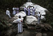 Sorte Mountain - Yaracuy - Venezuela, March 23, 2016: People gathers over the river before a baptism ritual