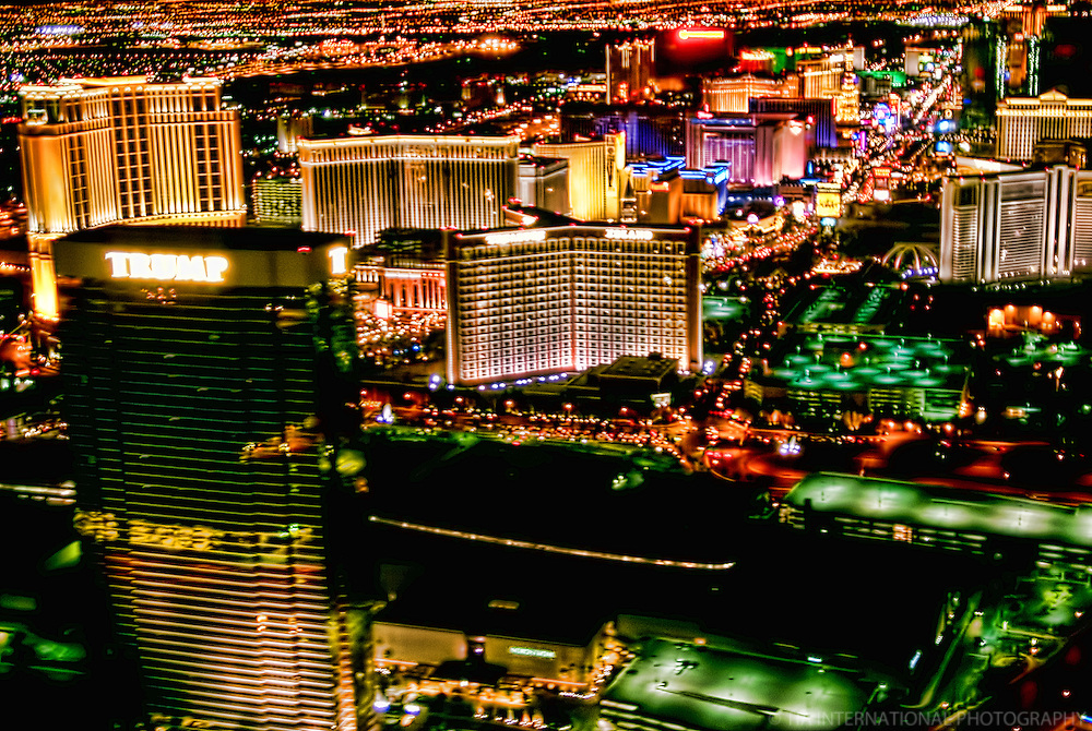 Night Aerial View, Las Vegas Strip featuring Trump Tower