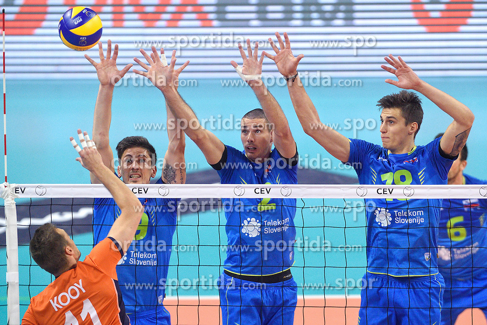 Dick Kooy #11, Dejan Vincic #9, Alen pajenk #2, Klemen Cebulj #18 during volleyball match between National teams of Netherlands and Slovenia in Playoff of 2015 CEV Volleyball European Championship - Men, on October 13, 2015 in Arena Armeec, Sofia, Bulgaria. Photo by Ronald Hoogendoorn / Sportida