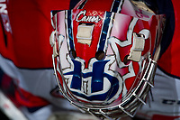 KELOWNA, CANADA - NOVEMBER 17: Stuart Skinner #74 of the Lethbridge Hurricanes stands in the tunnel at the start of the game against the Kelowna Rockets on November 17, 2017 at Prospera Place in Kelowna, British Columbia, Canada.  (Photo by Marissa Baecker/Shoot the Breeze)  *** Local Caption ***