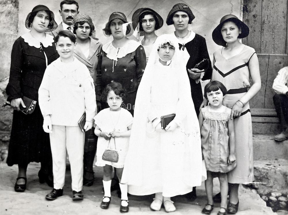 vintage holy communion family group portrait France