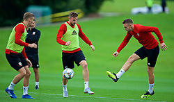 CARDIFF, WALES - Tuesday, September 4, 2018: Wales' Chris Gunter (right) and Paul Dummett during a training session at the Vale Resort ahead of the UEFA Nations League Group Stage League B Group 4 match between Wales and Republic of Ireland. (Pic by David Rawcliffe/Propaganda)