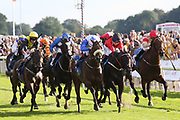 SHAMAD (11) ridden by Oisin Orr and trained by Irish based Trainer Peter Fahey winning The SHA and Carat Apprentice Handicap Stakes over 1m 4f (£15,000)  during the Family Race Day held at York Racecourse, York, United Kingdom on 8 September 2019.