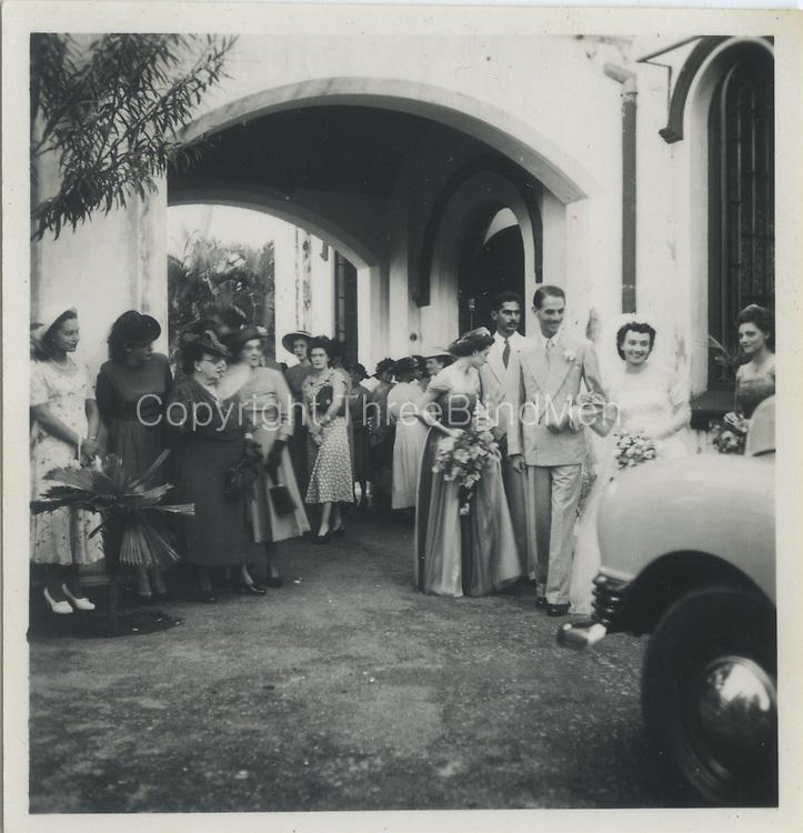 Miliani Sansoni marries Monique (Moni) Deutrom. Dutch Reformed Church, Colombo, Sri Lanka.<br /> 26th November 1949
