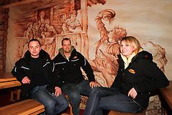 29.01.2013, Schladming, AUT, FIS Weltmeisterschaften Ski Alpin, Schladming 2013, Vorberichte, im Bild drei Mitarbeiter von Show Express in der Goesser Fan Arena am 29.01.2013 // members of Show Express in the Goesser Fan Arena on 2013/01/29, preview to the FIS Alpine World Ski Championships 2013 at Schladming, Austria on 2013/01/29. EXPA Pictures © 2013, PhotoCredit: EXPA/ Martin Huber