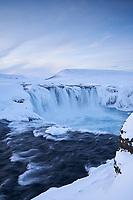 Goðafoss in winter, North Iceland.