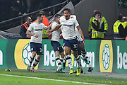 Preston North End forward Callum Robinson (37) celebrates scoring with Preston North End to go 1-2  during the EFL Sky Bet Championship match between Hull City and Preston North End at the KCOM Stadium, Kingston upon Hull, England on 26 September 2017. Photo by Ian Lyall.
