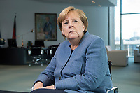 09 OCT 2017, BERLIN/GERMANY:<br /> Angela Merkel, CDU, Bundeskanzlerin, waehrend einem Interview, in ihrem Buero, Bundeskanzleramt<br /> IMAGE: 20171009-01-003<br /> KEYWORDS: Büro