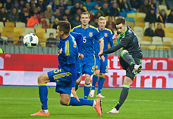 KIEV, UKRAINE - Easter Monday, March 28, 2016: Wales' Tom Lawrence in action against Ukraine during the International Friendly match at the NSK Olimpiyskyi Stadium. (Pic by David Rawcliffe/Propaganda)