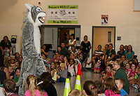 Whiskers the mascot is welcomed by Woodland Heights Elementary School students on Thursday afternoon during their assembly on PBIS (Positive Behavorial Intervention Supports).  (Karen Bobotas/for the Laconia Daily Sun)