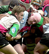 14/04/2002.Sport - Rugby Union.Madjeski Stadium - Reading.Zurich Premiership.London Irish vs Harlequins.Keith Wood, smuggles the ball to Matt Powell....
