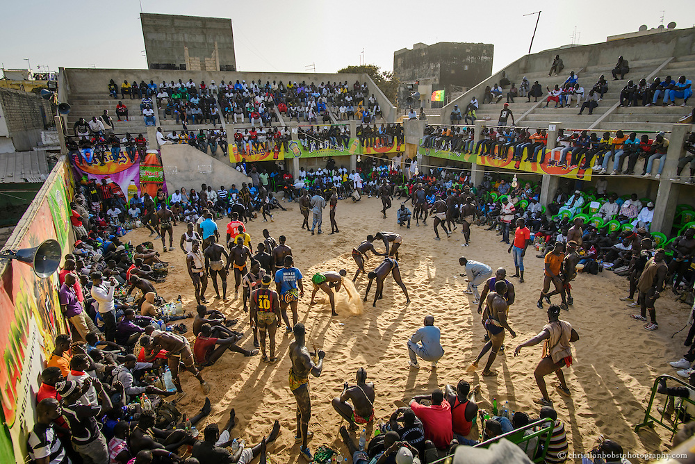 March 28 2015. The mood in the Adrien Senghor arena in the Yoff district, reminds of the gladiatorial fights of the antiquity.